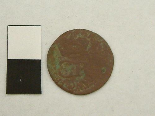 YORYM-54DCA6: Post Mediaeval coin, 'Turner' of Charles I (obverse).