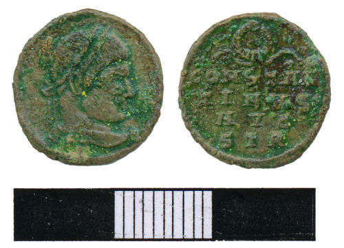WMAS-952CF6: Roman Coin: A nummus of the House of Constantine (obverse and reverse views).