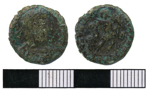 WMAS-3C07F6: Roman coin: A nummus of the House of Valentine (obverse and reverse view).