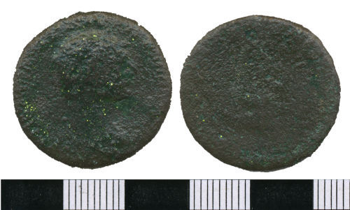 WMAS-3C4037: Roman Coin: An as of Trajan (obverse and reverse view).