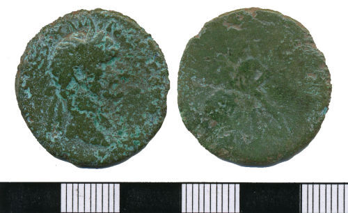 WMAS-3C8FE1: Roman Coin: An As of Trajan (obverse and reverse views).