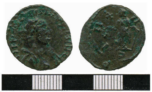 WMAS-41F4B5: Roman coin: A  barbarous radiate of Carausius  (obverse and reverse views).