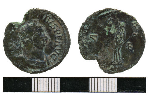 WMAS-41FAD7: Roman coin : A radiate of Carausius (obverse and reverse views).