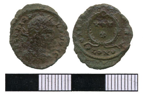 WMAS-4F3808: Roman coin: A nummus of Crispus (obverse and reverse view).