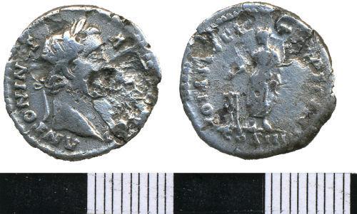 WMAS-6A8196: Roman Coin: A Denarius of Antonius Pius (obverse and reverse view).