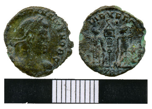 WMAS-6AB827: Roman Coin: A nummus of the House of Constantine (obverse and reverse views).
