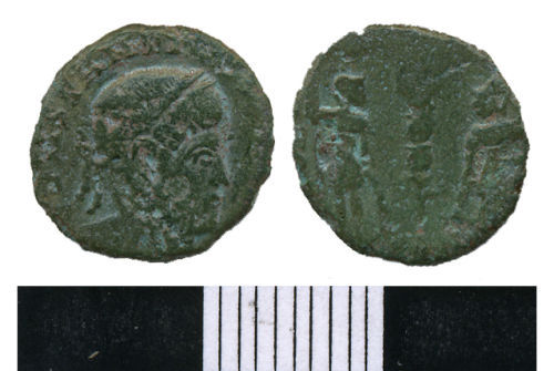 WMAS-6C1517: Roman Coin: A nummus of the House of Constantine (obverse and reverse views).