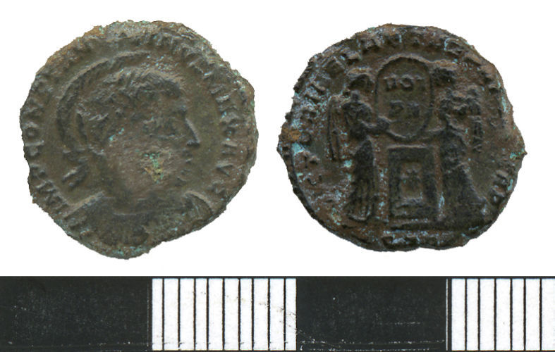 WMAS-58B183: Roman Coin. A nummus of Constantine I(obverse and reverse views).