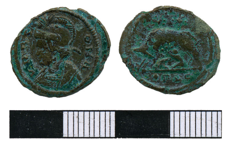 WMAS-592298: Roman Coin: A nummus of the House of Constantine (obverse and reverse views).