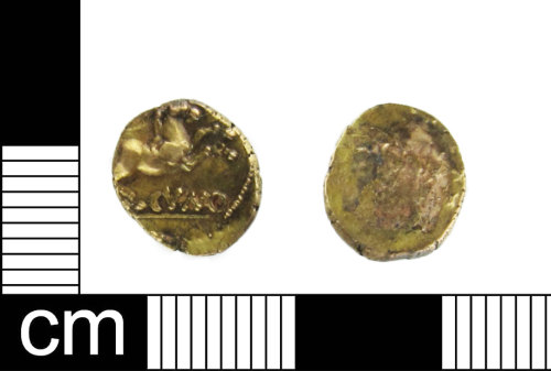 ESS-DE47C2: Iron Age Coin: gold quarter stater of Cunobelinus