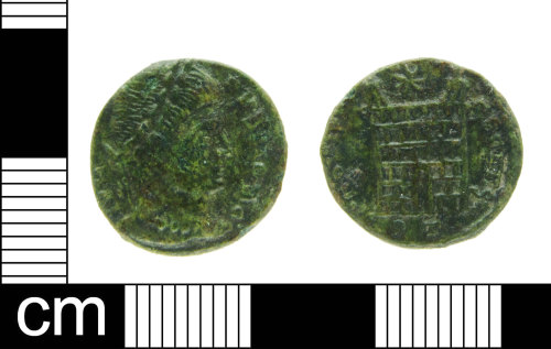A resized image of Roman coin: nummus of House Constantine