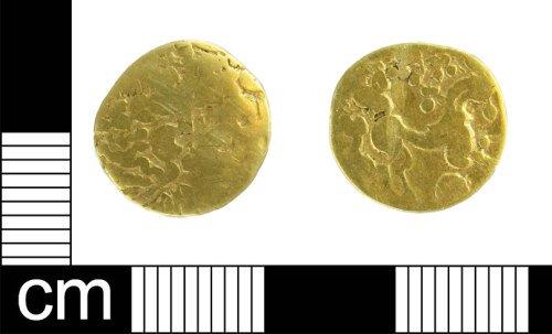 ESS-72D583: Iron Age coin: gold quarter stater of gallo-belgic origin