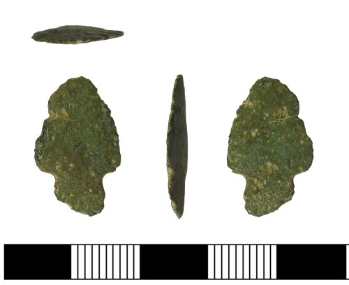 A resized image of Bronze Age copper alloy arrowhead