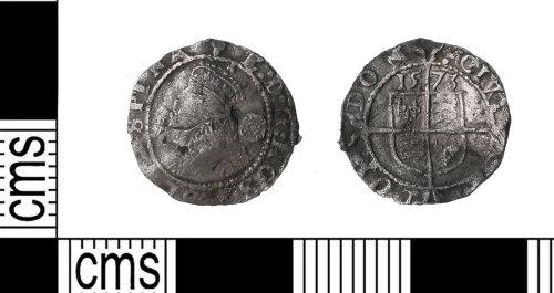 KENT-9FB6AA: Silver Elizabeth ! three halfpence 1573