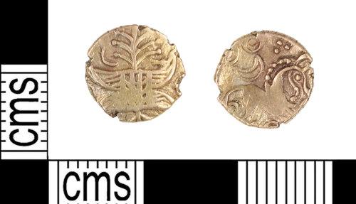 KENT-B61C81: Gold quarter stater of the Iceni