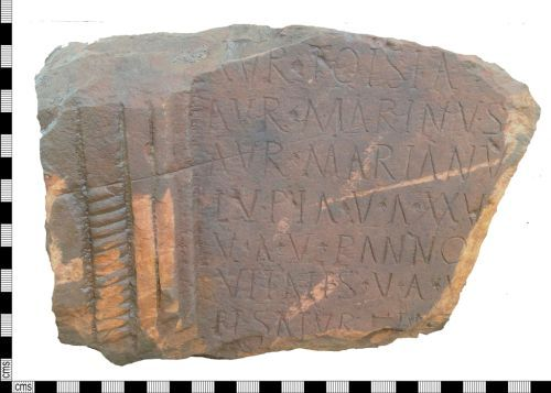 LANCUM-273C82: A Roman sandstone tombstone from a cemetery site overlooking and adjacent to a Roman road from which other tombstone fragments are known probably dating to the late 2nd century AD.