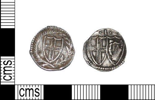 LANCUM-55D9A8: Commonwealth penny 1649-1660AD. Obv: arms in wreath. Rev: conjoined arms with .I. above. Mint London. Mark of value 1.