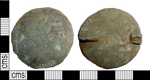 LANCUM-8E2BB6: Early-Medieval cast copper alloy disc brooch.