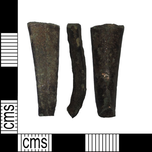LANCUM-ABBDE8: An incomplete copper alloy item difficult to identify possibly dating 300BC to 410AD.