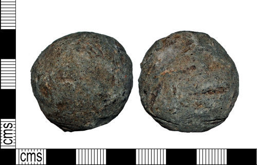 LANCUM-D35554: A complete cast lead cannon ball of Post-Medieval date.