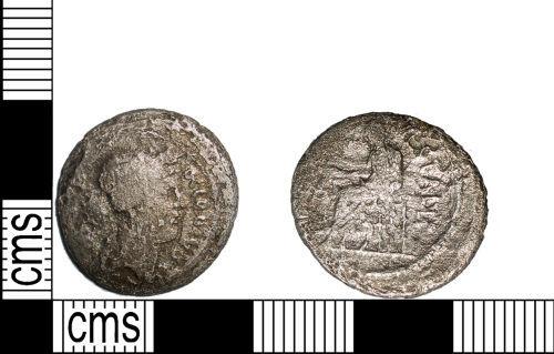 LANCUM-DE0CD3: Late Republican silver denari an issue of the moneyer C. Clodius Vestalis dating to 41 BC. Reece period 1.