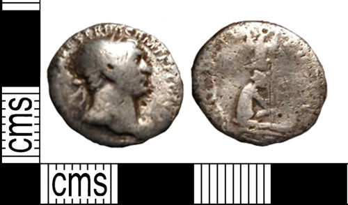 LANCUM-AC3B57: Roman silver denarius of Trajan, dating to AD 103-11.
