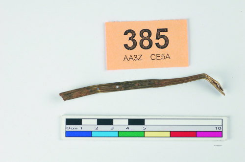 STAFFS-A59F42: Strip of reeded gold, nail holes at intervals down length.