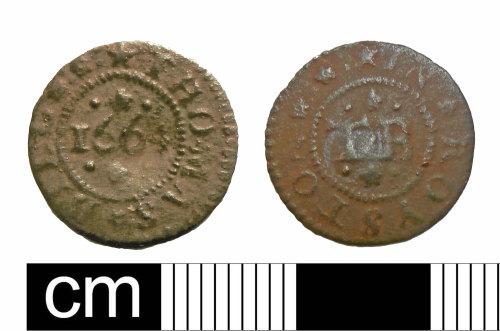 PUBLIC-5B122E: PUBLIC-5B122E: Farthing token 1664 Thomas Bill In Royston