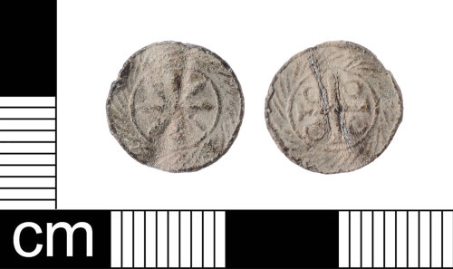 LON-1015A6: A Late Medieval lead alloy cross and pellets token, London series, AD1425-1490.