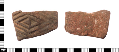 LON-1CD94C: A fragment of a Roman ceramic Lowther's Group 5 and Betts Die 13 relief-patterned flue-tile dating from AD 120-160.