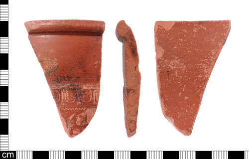 LON-1E182C: A rim sherd fragment from a Roman Gaulish samian ware hemispherical bowl Form Dragendorff 37 by the Les Martres de Veyre potter known as 'X-2' dating to AD 100 - 120.