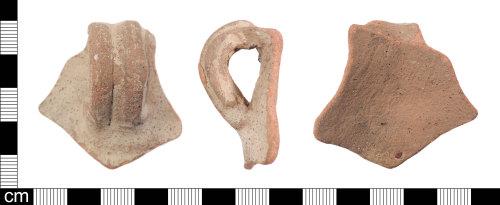 A resized image of A fragment of Roman ceramic Verulamium Region Coarse White-slipped ware (VCWS) jar, Hadrianic to Antonine date AD120-190.