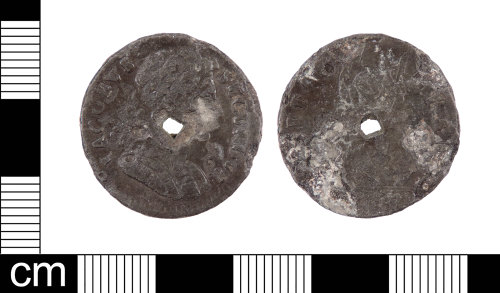 LON-277595: A Post Medieval tin farthing of James II (AD 1685-1688) dated AD 1686.