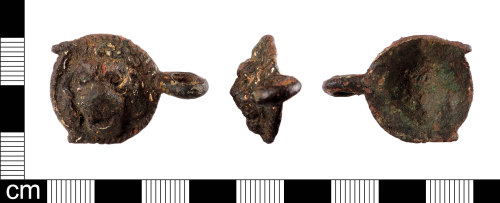 LON-2868FB: An incomplete Post-Medieval copper alloy, lion head cloak clasp dating to the 18th - 19th century.
