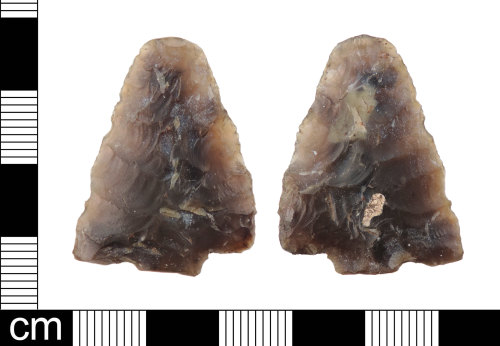 LON-3FF5BA: An incomplete flint tanged arrow head Sutton type b dating to the Middle Bronze Age: c. 2400-1000BC.