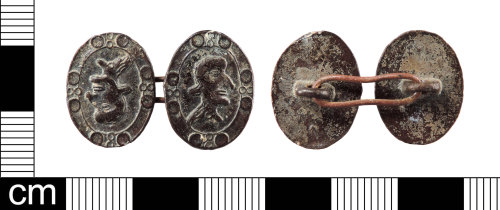 LON-4B68C2: A complete Post Medieval, copper alloy cuff link or cuff button dating from AD 1750-1800.