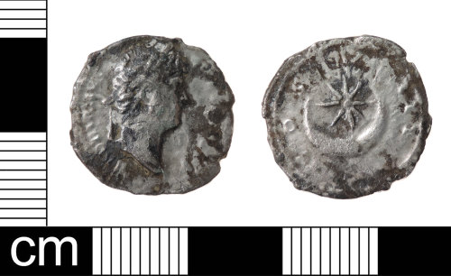 LON-4B6D0B: A silver denarius of Hadrian (AD 117-138), dating to AD 125-8 (Reece Period 6), COS III, Star and crescent. Mint of Rome. RIC II, p. 362, no. 200. Sear 3484.