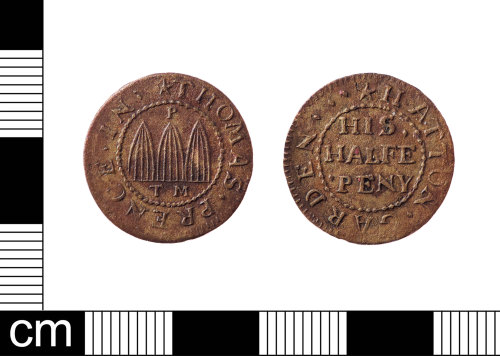 LON-5391C8: An incomplete English Post-Medieval copper-alloy half penny trade token dating from 1648-1674. Issued by Thomas Prence in Hatton Garden.