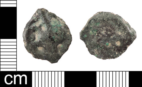 LON-55512F: An Iron Age, 2nd century BC copper alloy 'Thurrock' type, potin dating to 120-100 BC.