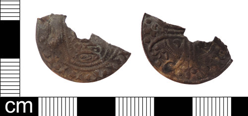 LON-59C4A4: An incomplete Medieval copper-alloy English jetton of Edward I, Mernick Class 1a3 reverse 6, dating to AD1279-1282. (Mitchiner 1988:107, refs: 171)