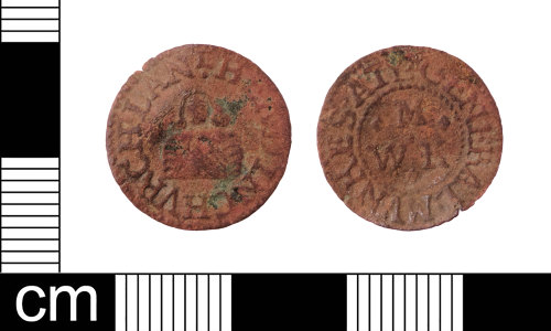 LON-5AD612: A complete English Post-Medieval copper-alloy farthing trade token dating from AD1648-1674. Williamson (1889:566 636).