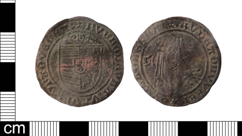 LON-5AF0DC: A complete copper alloy 'Venus penny' Jetton dating from AD 1490-1550.