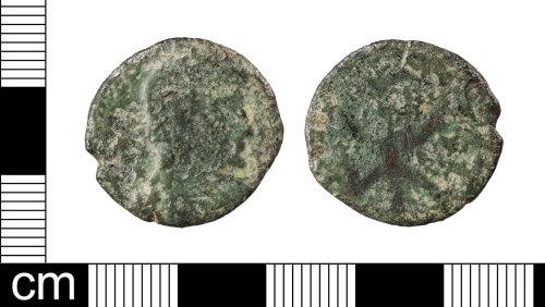LON-5B9BC2: A Roman copper alloy nummus of Magnentius or Decentius (AD 350-353), dating to the period AD 350-353 (Reece Period 18).