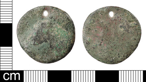 LON-5B9CA6: A very worn and pierced Roman coin, probably an as or dupondius of uncertain 1st to 3rd century AD ruler, dating to the period c.AD 41-260.