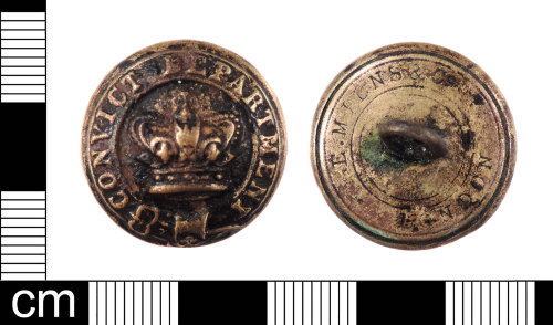 LON-5BCA4E: A complete Post Medieval to Modern copper alloy three part button from a prison warders uniform dating from AD 1860-1902