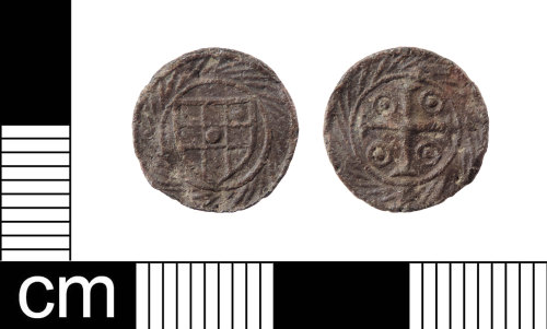 A resized image of A Late Medieval lead alloy cross and pellets token, London series, AD1425-1490.