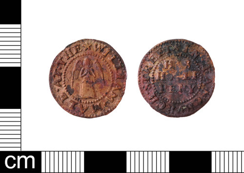 A resized image of A English Post-Medieval copper-alloy half penny trade token dating from AD 1656 -1674.