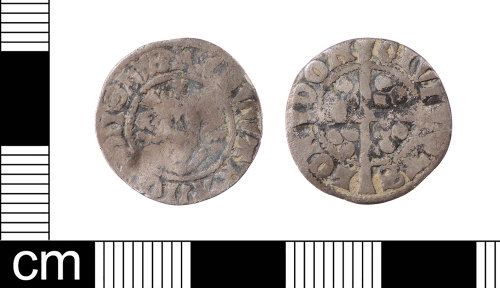 LON-957810: A silver medieval penny of Edward I dating AD 1301-1310. This is a Class class 10cf2 penny. Mint of London. North (1975:24, no. 1041).