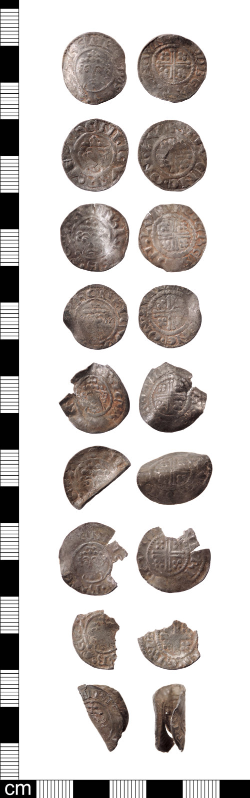 LON-97BE75: Nine Medieval silver pennies of short cross type dating AD1180-1247.
