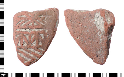 LON-9C8A61: An incomplete Roman ceramic Lowther's Group 1 and Betts Die 3, relief-patterned flue-tile dating from AD 150-200.